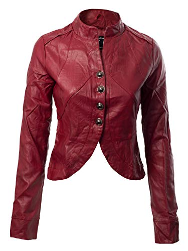 807a4981b Design by Olivia Women's Long Sleeve Faux Leather Jacket Cropped Crop Top  Red L