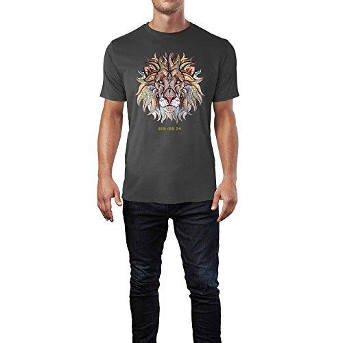 SINUS ART® Löwenkopf mit orientalischem Muster Herren T-Shirts in Smoke Fun Shirt mit tollen Aufdruck