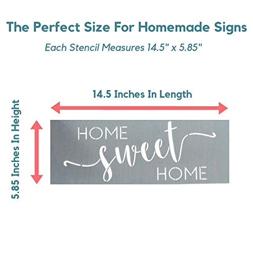 Home Sweet Home, Grateful, Welcome Stencil Set - Word Stencils for Painting on Wood + More - Set of 3 Reusable Script Stencils - Sign Stencils Make Modern DIY Signs + DIY Wall Decor - Phrase Stencils