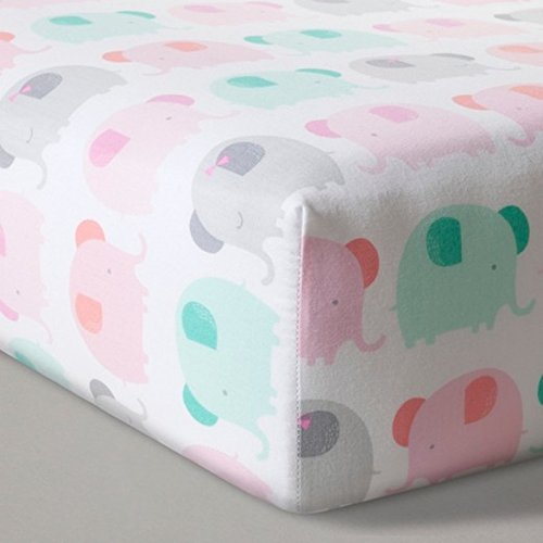 (Fitted Crib Sheet Elephant Parade - Cloud Island - Pink)