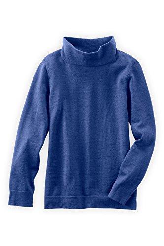(Fair Indigo Fair Trade Cotton/Alpaca Relaxed Turtleneck Sweater (XS, Ultramarine))