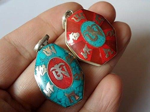 (Delicate Tibetan Turquoise Coral Inlay Mantra Om Mani Ghau Prayer Box Pendant)