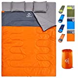 oaskys Camping Sleeping Bag - 3 Season Warm & Cool Weather - Summer, Spring, Fall, Lightweight, Waterproof for Adults & Kids - Camping Gear Equipment, Traveling, and Outdoors (Double Orange)