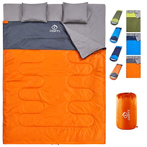 oaskys Camping Sleeping Bag – 3 Season Warm & Cool Weather – Summer, Spring, Fall, Lightweight, Waterproof for Adults & Kids – Camping Gear Equipment, Traveling, and Outdoors (Double Orange)