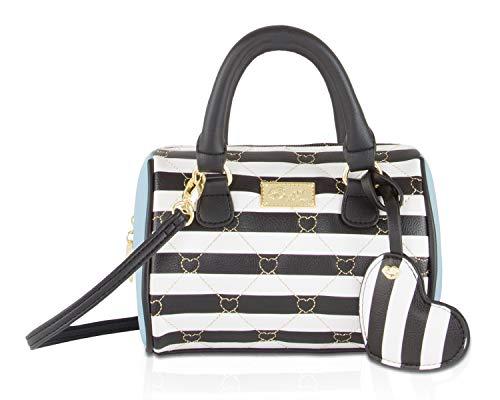 Luv Betsey Johnson Harlii Heart Mini Crossbody Satchel Bag - Sky Blue Black Stripe