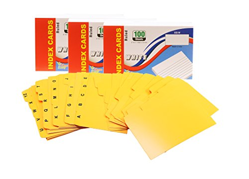 Index Cards, 3x5-Inch, Ruled, White, 100-Count per Package - Set of 25 A-Z + 25 Blank Card Dividers, 1/5 Cut Tab from Northland Wholesale. (3 Packs of 100, Dividers)