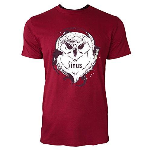 SINUS ART ® Splash Art Eule mit Kopfhörern Herren T-Shirts in Independence Rot Fun Shirt mit tollen Aufdruck