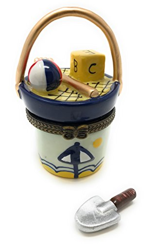 Art Gifts Beach Sand Bucket Porcelain Trinket Box with Tiny Trinket Inside, by, 1.75 Round