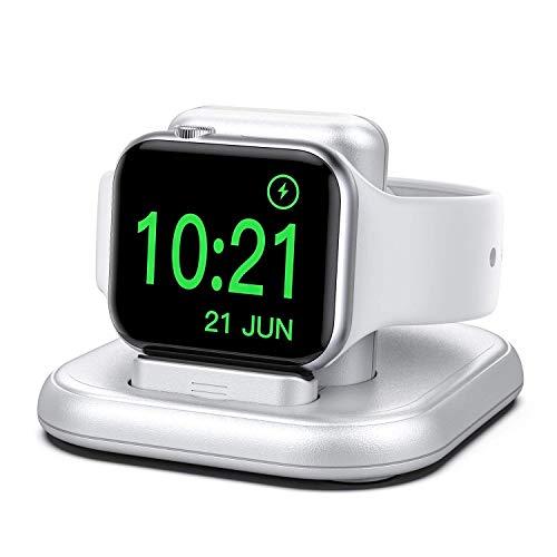 cargador inalambrico apple watch 6/5/4/3/2/1/se plateado