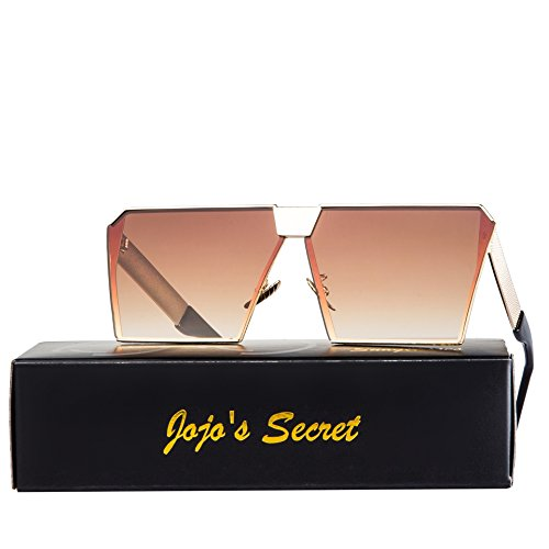 JOJO'S SECRET Oversized Square Sunglasses Metal Frame Flat Top Sunglasses JS009 (Gold/Brown, - Brands Sunglasses Top