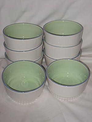 SET OF 8 - Pfaltzgraff Cloverhill Band 5x3 Inch Ramekin Souffle Baking Dish Bowl