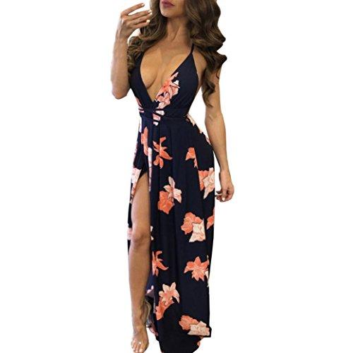 vestidos de mujer,Switchali Mujer verano Atractivo Escotado por detrás Sin mangas maxi Vestido Delgado Cóctel Bodycon Vestido largo bohemios floral casual ropa para mujer