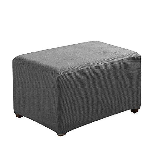 (Argstar Jacquard Ottoman Cover Fleece Protector Stretch Slipcover Elastic Grey for Sofa Sets)