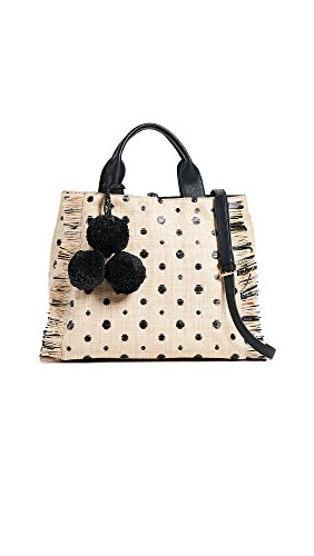 Black Lux Bag (Deux Lux Women's Dottie Straw Tote, Black, One Size)