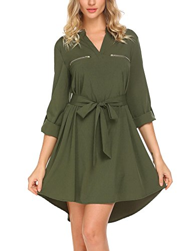 Miu Miu Green - SE MIU Women Casual V Neck Solid Tunic Shirt Dress, Green, XL