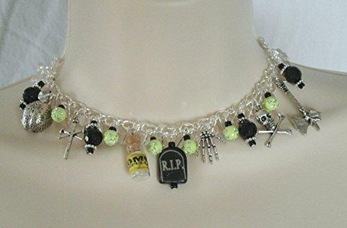 Zombie Choker Necklace, handmade jewelry gothic goth fantasy halloween rockabilly -