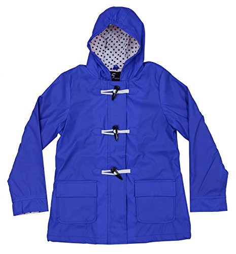 Youth Girls Apparel No. 5 Hooded Fully Lined Toggle Packable Rain Coat (X-Large (16), Blue) (Weather Toggle Jacket)