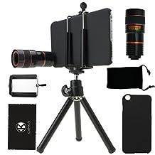 iPhone 6 Plus / 6S Plus Camera Lens Kit including 8X Telephoto Lens / Mini Tripod / Universal Phone Holder / Hard Case for iPhone 6 Plus / 6S Plus / Velvet Phone Bag / CamKix Microfiber Cleaning Cloth