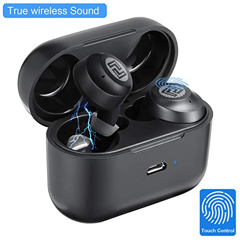 True Wireless Earbuds Magnetic Charge Wireless Headphones Bluetooth Earphones 21H Playtime Bluetooth 5.0 Stereo Hi-Fi Sound Built-in Mic (Black)