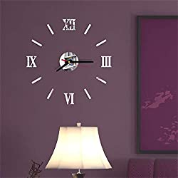 Yu2d  3D DIY Roman Numbers Acrylic Mirror Wall Sticker Clock Home Decor Mural Decals(Silver)