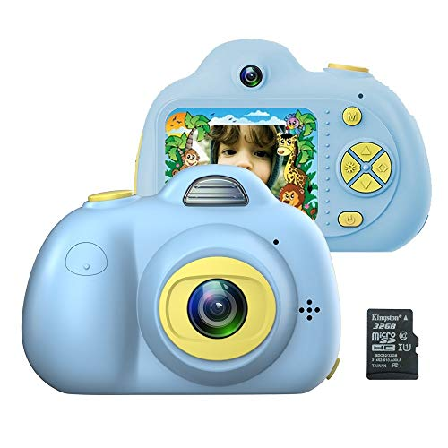 Kids Camera for Girls or Boys - Anti-Drop Kid Digital Camera with Soft Silicone Shell and 8 Mega Pixel Dual Lens 2.0 inch HD Screen with Mic, Great Gift for 4-8 Year Old Boys (32G TF Card Included)
