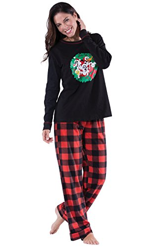 PajamaGram Looney Tunes Plaid Fleece Women's Pajamas, Red/Black, Large (12-14)