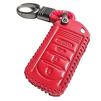Red Hand Sewing 4 Buttons Smart Leather Key Cover Case Fob Bag Holder Glove Fit For Acura RDX MDX TL TLX IL TSX ZD ZDX (NOT Fit ENGINE HOLD FOB): Automotive