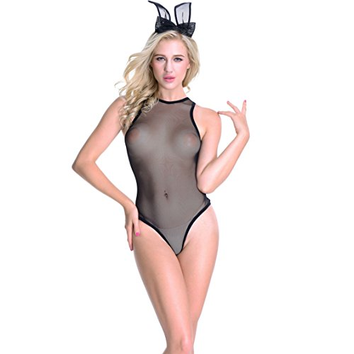 Sexy Lingerie for Women , Transparent Bunny Girl Open Crotch Teddy Lace Babydoll (Sexy Bunny Lingerie)