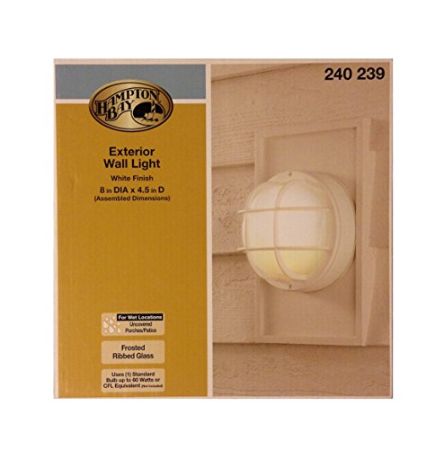 Hampton Bay White Finish 8 Inch Round Exterior Wall Light, Frosted Ribbed Glass - 1 Light