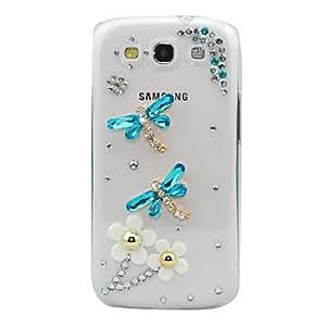 comprar Jewerly Coverd Crystal Flowers Dragonfly Patrón transparente del caso del cuerpo para Samsung Galaxy S3 I9300