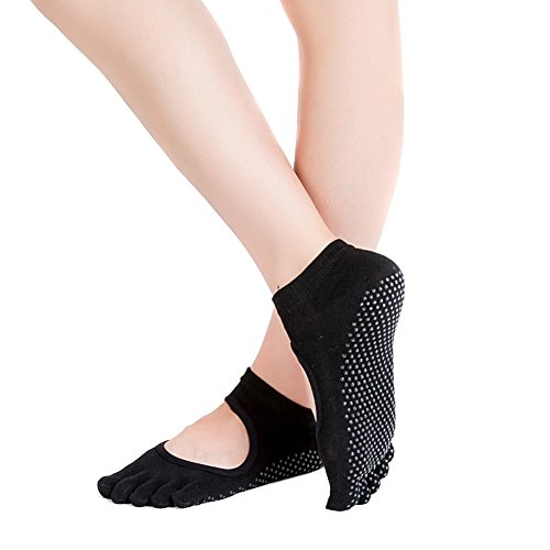 calcetines Ssowun Negro yoga,calcetines dedos dedos Fletion antideslizantes mujer pUHqU5