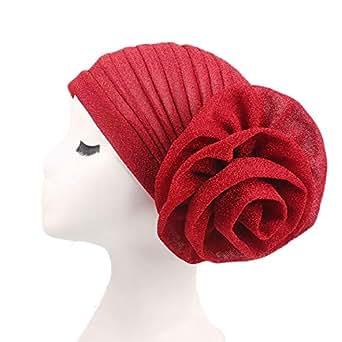 ZOONAI Women Girl Glitter Flower Chemo Beanie Cap Hair Loss Turban Stretchable Sleep Night Head wrap - Red - One Size