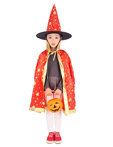 Naughty & Nice Teen Costumes (Children's Halloween Costumes, Fancy Witch Wizard Cloak Cape with Hat (Red))