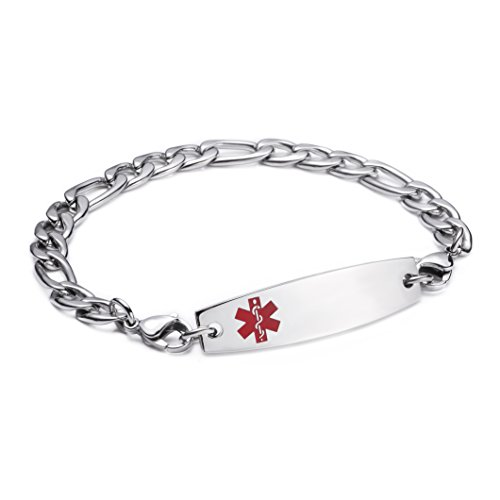LinnaLove Stainless steel Figaro Chain lnterchangeable medical alert bracelets-Free engraving(1351/7.5) ()