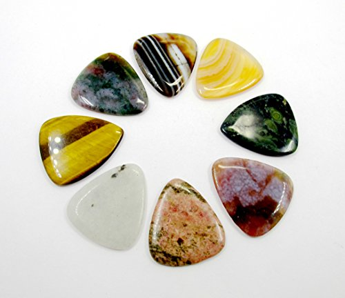 /Pack Genuine Gemstone Guitar Pick,Natural Stone Colorful Guitar Picks Plectrums for Guitar Bass ()