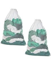 Meowoo 2Pcs Large Mesh Laundry Bag with Drawstring,23.6×35inch Washing Bag Net for Washing Machine (White)