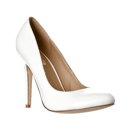 iper Round Toe, High Heel Pumps, White Patent, 6.5 ()
