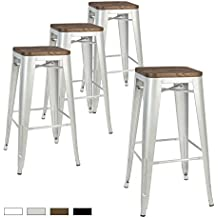 """LCH 30"""" Metal Industrial Backless Bar Stools, Set of 4 Indoor/Outdoor Counter Stackable Barstool with Wood Seat, 500LB Limit - Silver"""