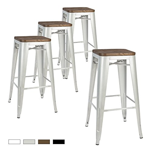 LCH Metal Industrial Bar Stools, Set of 4 Indoor/Outdoor Counter Stackable Barstool with Wood Seat, 500LB Limit (Silver, 30 Inch) - Wrought Iron Kitchen Bar Stools