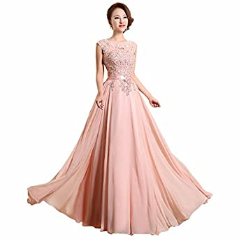Felaladress Formal Long Pink Chiffon Size 6-30 Prom Dresses For Women