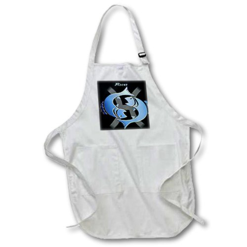 Medium 3dRose apr/_923/_2 22 by 24-Inch Pisces Zodiac Sign Apron with Pouch Pockets