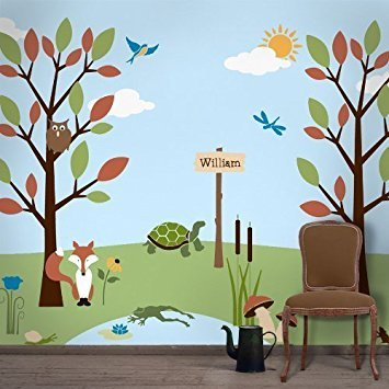 My Wonderful Walls Forest Theme Wall Stencil Kit for Girls Room by MyWonderfulWalls