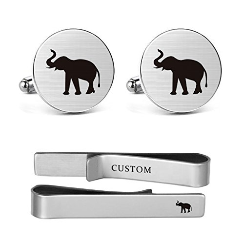 MUEEU Elephant cufflinks Engraved Animal Accessory Stainless steel Wedding Birthday Jewelry Father Dad Tie Bar (Elepant cufflinks and tie ()