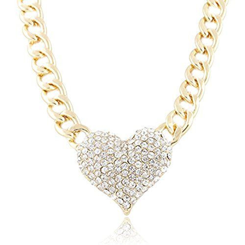 Fheaven Ladies 3D Heart Diamond Pendant with a 16 Inch Adjustable Link Chain Necklace Lady Heart Diamond