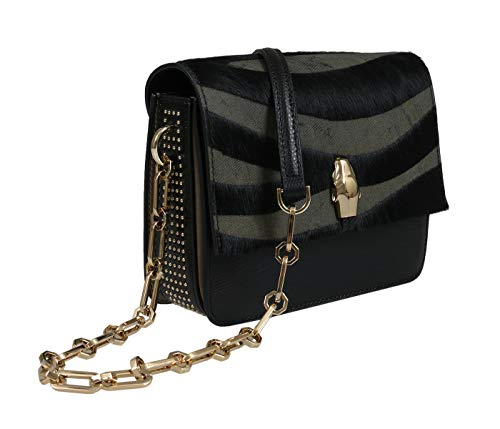 Roberto Cavalli HXLPG6 999 Black/Olive Shoulder Bag for Womens (Coin Roberto Inspired)