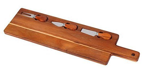 set 4 Piece, With Acacia Wood Board, With 3 piece Stainless steel Wooden Handles ()