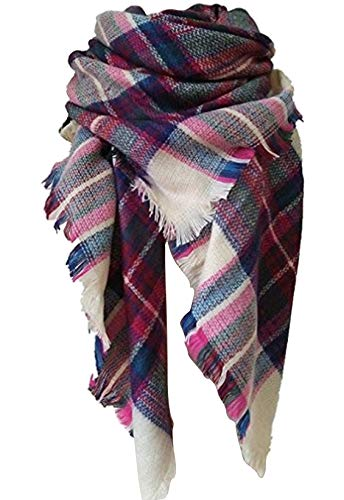(Lanzom Large Tartan Fashion Women Warm Blanket Scarf Lovely Wrap Shawl (Color 5))