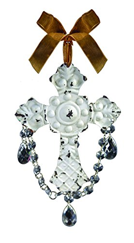 Manual Woodworkers and Weavers Symbols of Faith Dangle Cross Ornament, 10-Inch, White, Set of 4