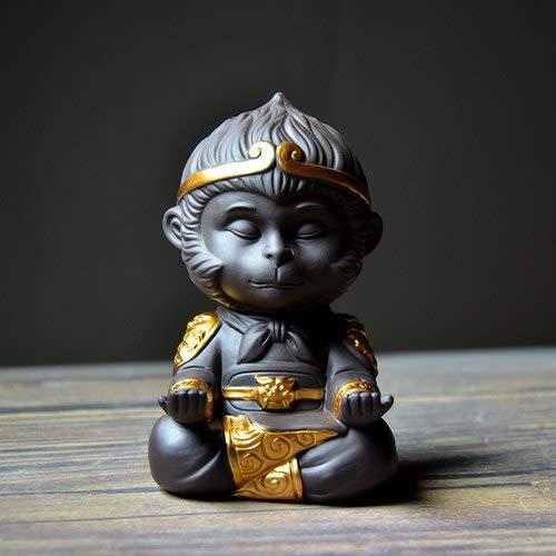 ZAMTAC Boutique Purple Clay Yixing Tea Pet Golden Monkey King Qi Tian Da Sheng Figurines Handmade Ceramic Home Decor Tabletop Ornament - (Color: B)