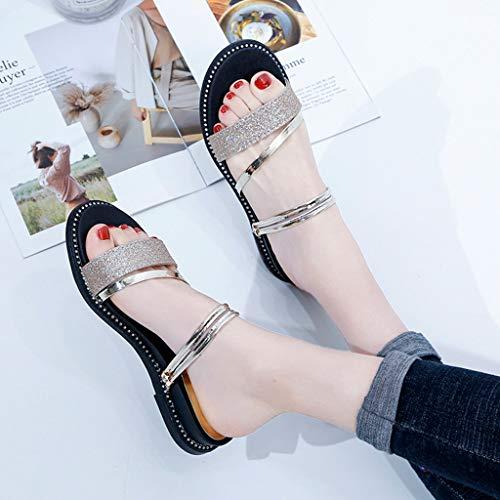 Sandales Plates De Diapositives yesmile Des Avec Outdoor Pantoufles Plat Gold Chaussures Femme TpqaTr